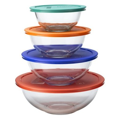 Pyrex Smart Essentials 8-pc. Mixing Bowl Set - Multi Color Lids